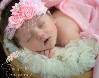 Pink Baby Headband,Baby Headbands,Christening baby Headband,Baptism Headband, Flower Girl Headband,  Lace Flower Headband, Newborn Headband.