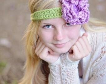 Flower Headband (Green/Lilac)