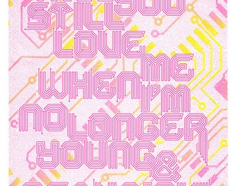 RISOGRAPH //  Young and beautiful quote hand drawn lana del ray