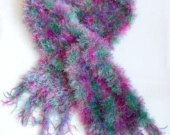 CLEARANCE - Green & Purple Scarf Knitted Blue Pink Fluffy Eyelash Yarn Tassel Scarf by Emma Dickie Design