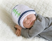 Crochet Baby Football Beanie - Newborn to Adult - White/Dark Country Blue/Limelight - MADE TO ORDER