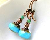 good day sunshine aqua copper drop earrings