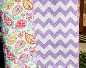 Paisley Baby Quilt, Infant Girl Toddler Crib Bedding, Cot Nursery Decor, Pink Yellow Purple Lavender, Modern Designer Splendor
