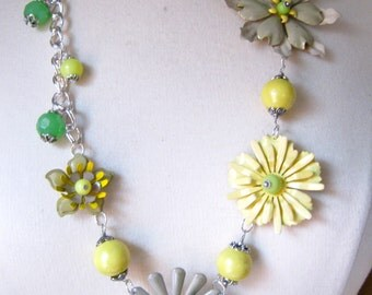 Statement Necklace, Vintage Enamel Flower, Long, Boho, Upcycled, Green, Yellow, Jennifer Jones, Hip, Flower Power, OOAK - Lemon and Sage