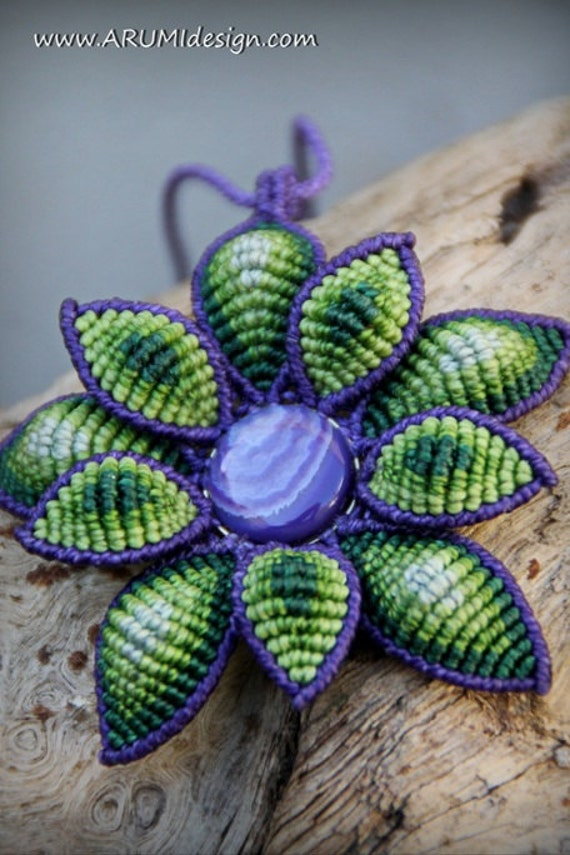 Green and purple statement FLOWER necklace, big flower pendant with AGATE gemstone, handmade fabric necklace by ARUMIdesign