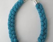 Blue statement necklace - rope necklace - braided necklace