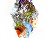 Zeigen Sie, wer ich bin ich ins Meer Dove / Giclee print / Bio / zeitgenössische Kunst / abstrakte Malerei / Wasser / Pflanzen / Blumen / Botanik