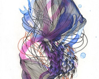 Element XVIII / archival digital print / giclee / organic / feathers / scales / purple / abstract drawing / nature / animals / lines /