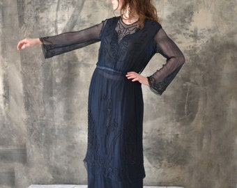 1920s Navy Silk Beaded Flapper Dress