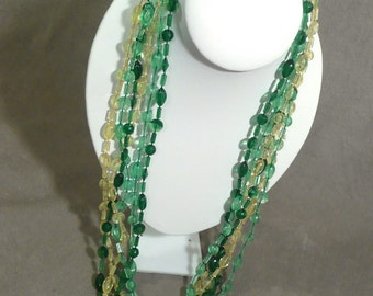 Vintage Multi Strand Long Necklace in Shades of Green and Yellow
