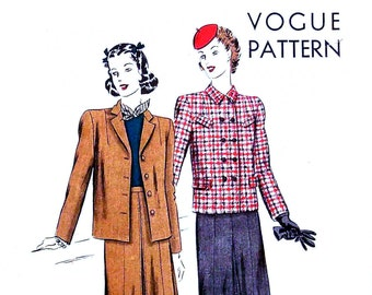 Vintage Vogue Suit Pattern 9500  Bust 32 Size 14 Late 1940s Town and Country