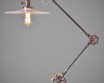 Vintage Industrial Floor L& - Machine Age Task Light - Cast Iron - Ste&unk - Copper & Vintage Industrial Floor Lamp Machine Age Task Light Cast azcodes.com