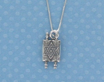 Torah Charm Sterling Silver Pendant on Card with Quote from Pirkei Avot
