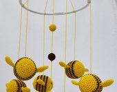 Nursery Mobile, Bumble Bee Baby Mobile, Crib Baby Mobile, Nursery Decor, Shower Gift for Nursery