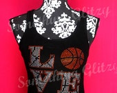 LOVE Basket Ball Rhinestone and Stud Tank Top or Tee sizes Sm - 3XL All Colors Available