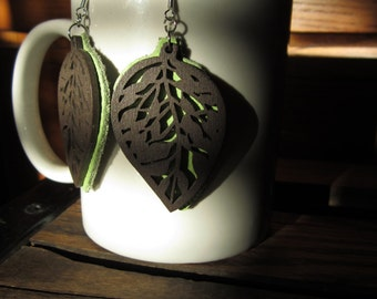 Leather and Wood Earrings Green Leaves