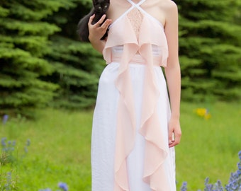 White and Blush Wedding Dress | Blush Chiffon and Lace Detail | Alternative Wedding Gown | Prom Gown | One of a Kind Dress