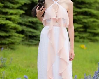 Alternative White Wedding Dress with Blush Accents