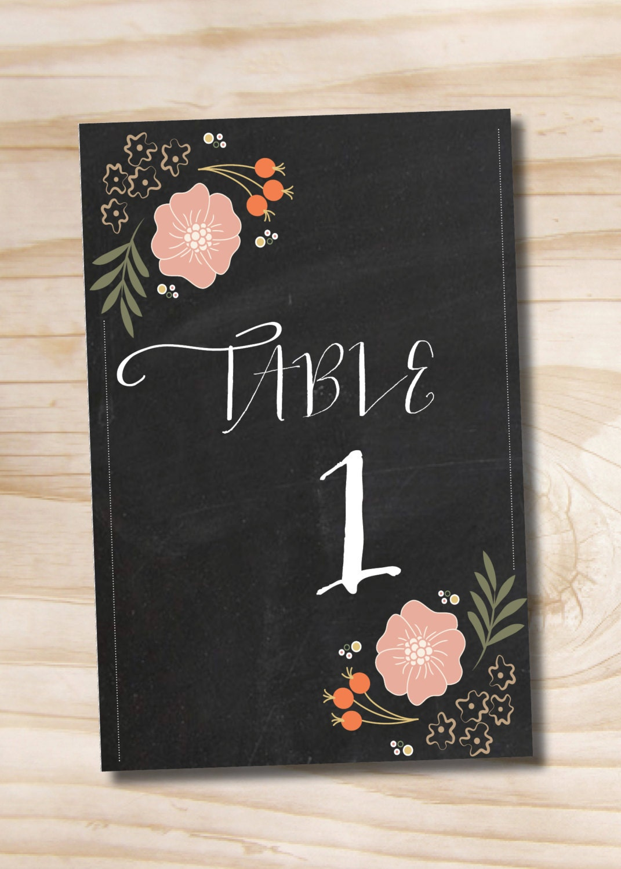 chalkboard table numbers ~ instant downloadg table numbers floral chalkboard numbers 1