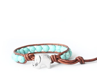 Lucky Elephant Button Leather Wrap Bracelet- Turquoise Magnesite 8mm - the Lucky Elephant Exclusive
