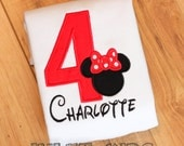 Minnie Mouse Birthday Number shirt -- Long or short sleeve