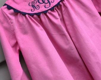 Girls Monogrammed Long Sleeve Pink Corduroy Yoke Dress