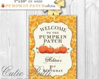 Pumpkin Patch Party Printable Welcome Sign by Cutie Putti Paperie