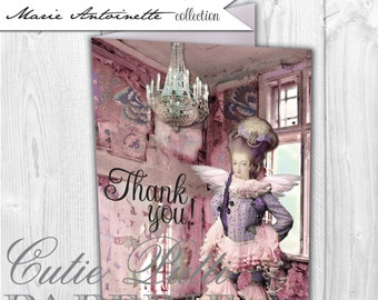 Marie Antoinette Party, French Party, Paris Party Printable Thank You Cards By Cutie Putti Paperie