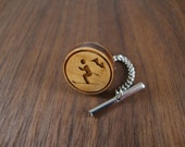 Men's Wooden Tie Tack - Downhill Skier Engraved in Maple Wood - 16mm Wedding, anniversary, any Special Occasion