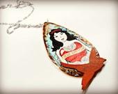 Snow White Original Illustration Teardrop Pendant/Necklace-The Fairytale Collection
