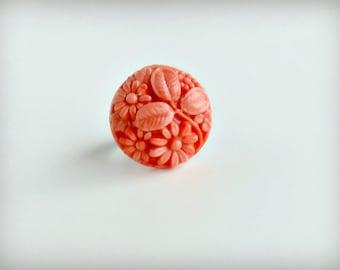 Repurposed Vintage Coral Flower Cabochon Ring