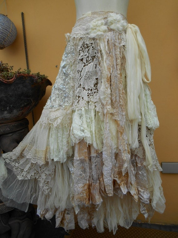 Vintage Inspired Extra Shabby Wrap Skirt Shawl A Work Of Art