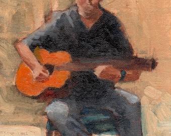 Musician Paintings - Guitarist Paintings - Strumming Guitarist Painting - Original Oil Painting by Marlene Lee