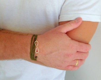 Gold men bracelet .  Braided men bracelet . Gold infinity bracelet . Mens jewelry