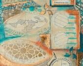 Listened, mixed-media/acrylic on canvas, map art