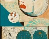 Worlds, mixed-media/acrylic on canvas, map art