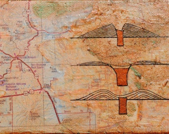 Capulin, mixed-media/acrylic on canvas, map art