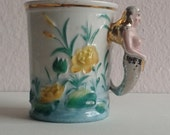 Antique Mermaid or Undine Handle Mug, Yellow Water Lily, Albine Name Souvenir German Porcelain Cup