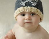 Knitted Baby Boy Hat - Skull and Crossbones
