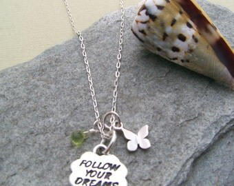 Sterling Silver 'Follow your Dreams' Pendant & Peridot, Butterfly Necklace-Nature Inspired-Spring Gifts