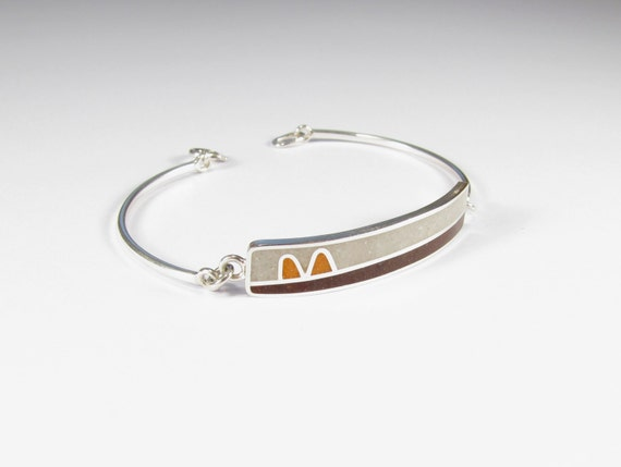 Sterling Silver  Bracelet, White, Brown, Orange, Modern, Contemporary, Colorful