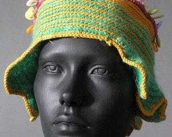 Funky Blue Lime & Yellows Crochet Hat with Plastic Oval Beads...