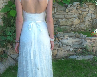 Lace Wedding Dress, Simple Wedding Dress, Low Back Dress, Open Back Dress, Wedding Gown, A Line Dress, Boho Wedding Dress, Ethereal Wedding