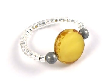 Stretchy Toe Ring Golden Yellow Glass Bead Adjustable ...