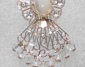 "Angel Pin / Brooch - ""Krystal"" - Crystal Swarovski Crystal Beads, Rhinestones, Silver Filigree"