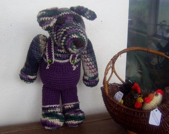 Crochet Stuffed Dog/SEQUOIA /Large Crochet Animal/ Purple and Green Stuffed Dog with Purple Overalls/Large Dog Plush/ Toy Dog/ Dog Amigurumi