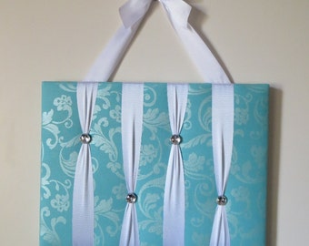 READY TO SHIP, Original Girls French Bow Holder - with Big Gemstone Buttons- Turquoise fabric with Pretty Shimmer