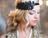 Black 1920s Headband, Flapper Headband, Great Gatsby Hair Accessory, Halloween Costume
