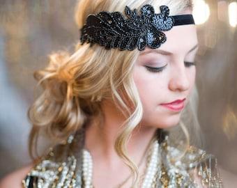 Black 1920s Headband, Flapper Headband, Great Gatsby Hair Accessory, Halloween Costume