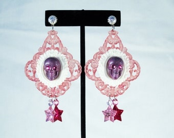 Sparkly Skull Pink and Purple Glam Earrings